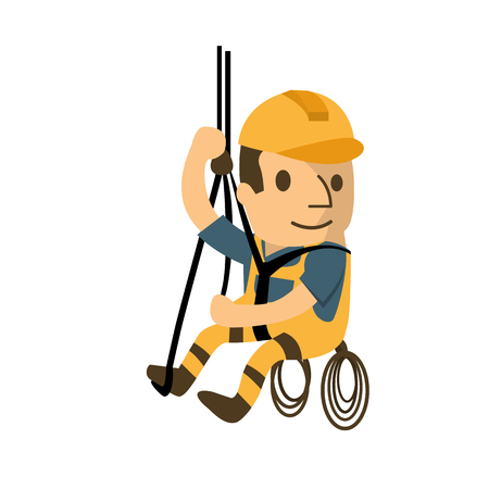 Ilustración de Construction worker in safety protective equipment, health and safety, safety first. - Imagen libre de derechos