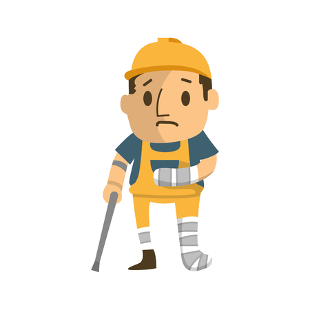 Illustration pour construction worker badly injured  walking on cructhes. - image libre de droit
