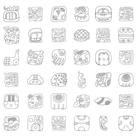 Illustration for American indians Maya and Aztec ornaments for your design - Royalty Free Image