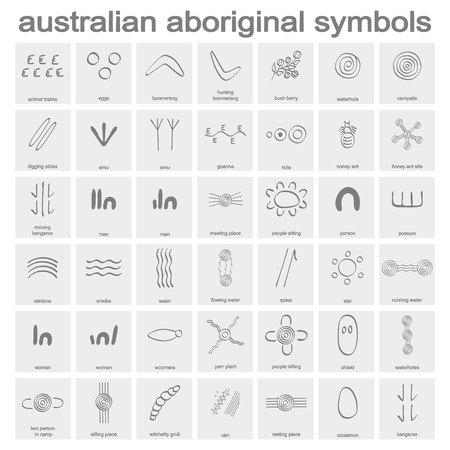 Illustration for monochrome icon set with australian aboriginal symbols for your design - Royalty Free Image