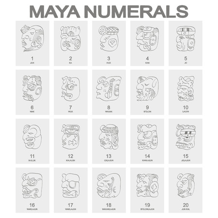 Illustration for vector icon set with maya head numerals glyphs - Royalty Free Image