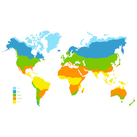 Illustration for vector world map with climate zone - Royalty Free Image