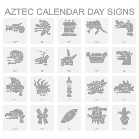 Illustration for icons with Aztec calendar Day signs - Royalty Free Image