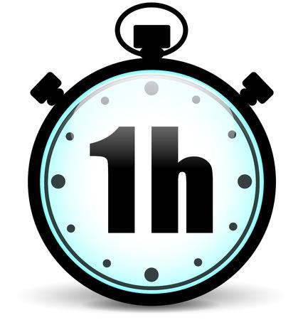 Ilustración de Vector illustration of one hour stopwatch icon - Imagen libre de derechos