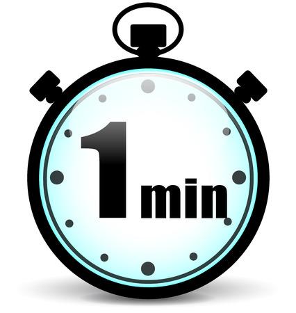 Ilustración de Vector illustration of one minute stopwatch sign concept - Imagen libre de derechos
