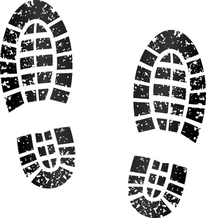 Ilustración de illustration of black footprints on white background - Imagen libre de derechos