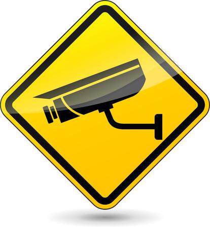 Ilustración de illustration of yellow sign for camera surveillance - Imagen libre de derechos