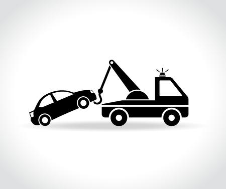 Illustration pour Illustration of tow truck icon on white background - image libre de droit