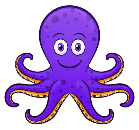 Photo pour Vector illustration of octopus cartoon purple design - image libre de droit