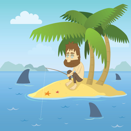 Illustration for illustration of a shipwrecked person who has found himself stranded on a desert island with no chance of escape. - Royalty Free Image