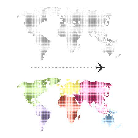 Ilustración de Color Dotted World Map - Imagen libre de derechos