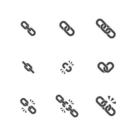 Illustration pour Chain Flat Icon Collection - image libre de droit