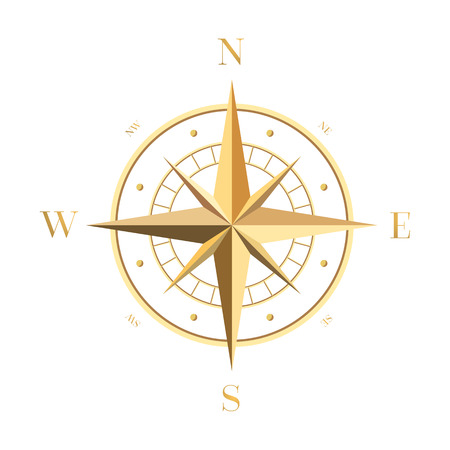 Illustration pour Gold Compass Rose - image libre de droit
