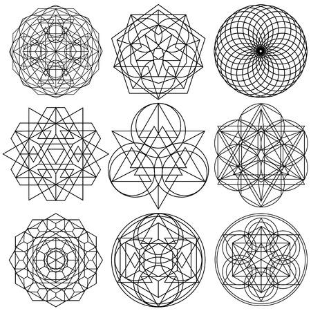 Illustration pour Sacred Geometry Symbols vector - set 03 - image libre de droit