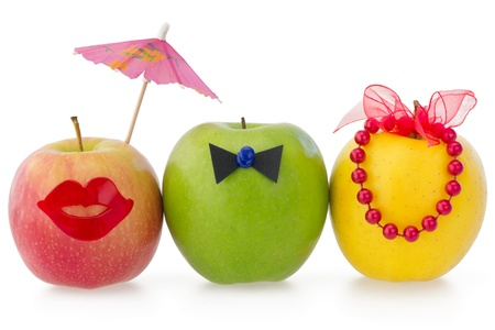 Photo pour Three apples as a concept of competition between two female and one male  - image libre de droit