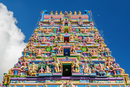 Photo for Colorful  facade of a Hindu temple in Victoria, Mahe, Seychelles, also known as ARUL MIHU NAVASAKTHI VINAYAGAR - Royalty Free Image