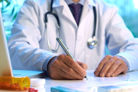 Photo for Doctor writing prescription selective focus  - Royalty Free Image