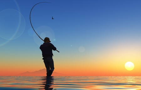 Photo for Fisherman silhouette at sunset. - Royalty Free Image