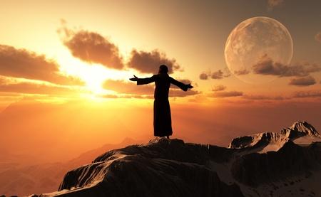 Photo pour A silhouette of a priest in a landscape. - image libre de droit