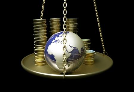 Photo pour Globe and coins on scales. - image libre de droit