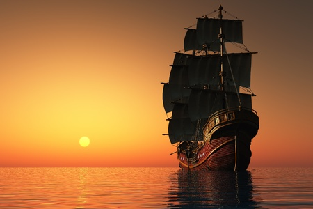 Photo pour Evening Landscape with sailing ship in the sea. - image libre de droit