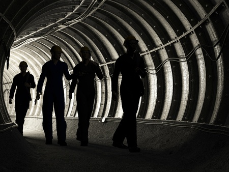 Photo for Silhouette of workers in mine - Royalty Free Image