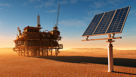 Photo for Solar panel station and the old oil-producing desert. - Royalty Free Image