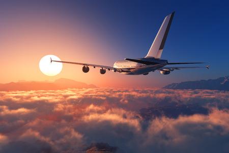 Photo pour Passenger plane above the clouds. - image libre de droit