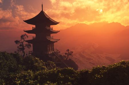 Photo pour Chinese house in the mountains.,3d render - image libre de droit