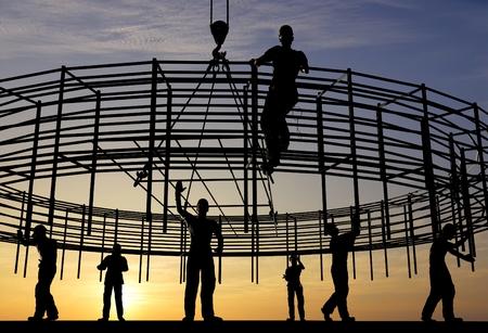 Foto de The group of workers working at a construction site.,3d render - Imagen libre de derechos