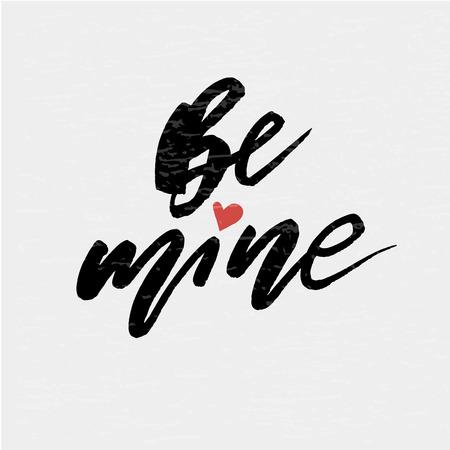 Ilustración de Be mine Vector Lettering Calligraphy Design Text Heart Illustration - Imagen libre de derechos