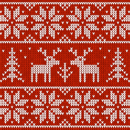 Red  sweater with deer  seamless pattern