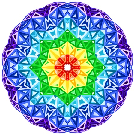 Illustration pour Rainbow kaleidoscope vector vibrant circle - image libre de droit