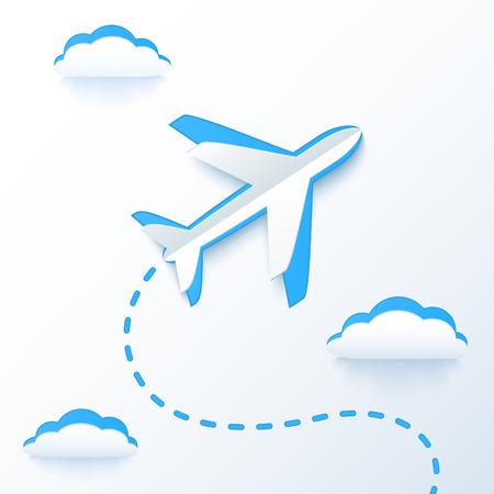Illustration pour Blue paper vector flying plane in clouds - image libre de droit