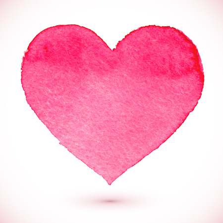 Ilustración de Watercolor painted pink heart, vector element for your design - Imagen libre de derechos