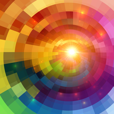 Illustration pour Abstract colorful shining circle tunnel lined background - image libre de droit