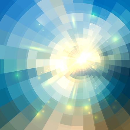 Ilustración de Blue vector winter sunshine in mosaic glass window - Imagen libre de derechos