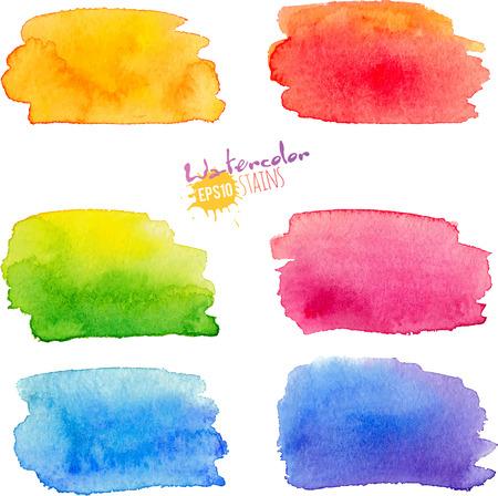 Illustration pour Rainbow colors watercolor textured paint stains set - image libre de droit
