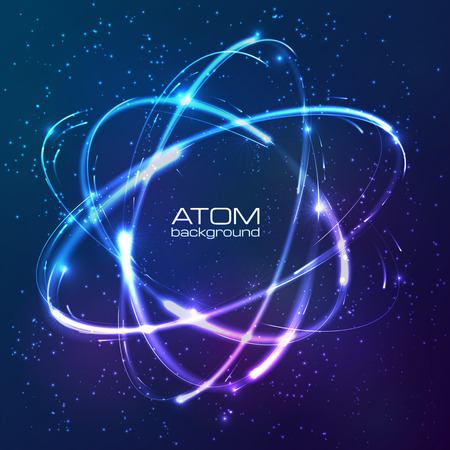 Illustration pour Vector shining blue neon lights atom model - image libre de droit