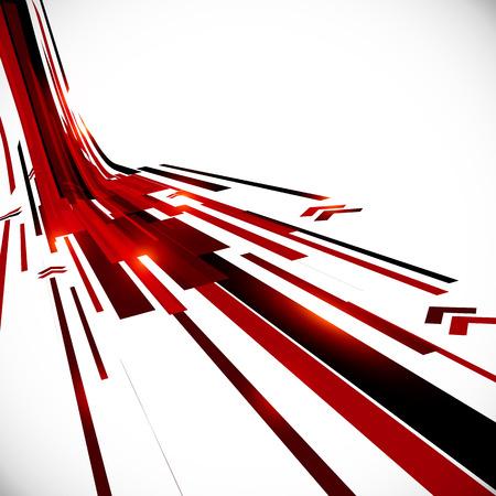 Ilustración de Abstract vector black and red perspective techno background - Imagen libre de derechos