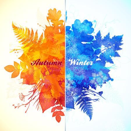 Illustration for Autumn - winter season watercolor vector illustration - Royalty Free Image