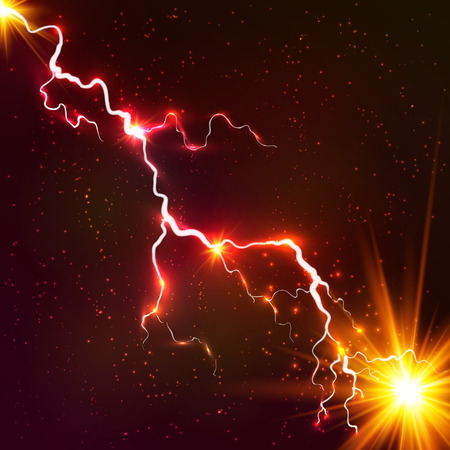 Illustration for Red shining cosmic plasma vector lightning - Royalty Free Image