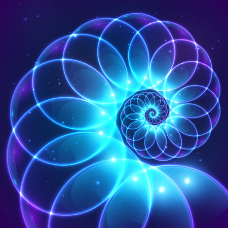 Illustration pour Blue abstract vector fractal cosmic spiral - image libre de droit