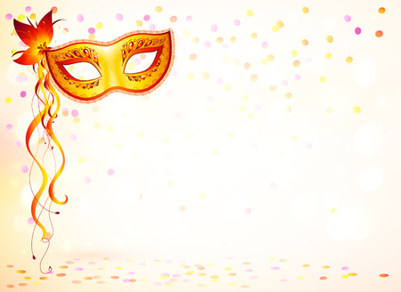 Illustration pour Orange carnival mask on pink bokeh light background - image libre de droit