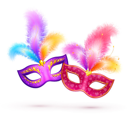Illustration pour Pair of bright carnival masks with colorful feathers - image libre de droit