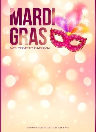 Illustration pour Light pink Mardi Gras poster template with bokeh effect and carnival mask - image libre de droit