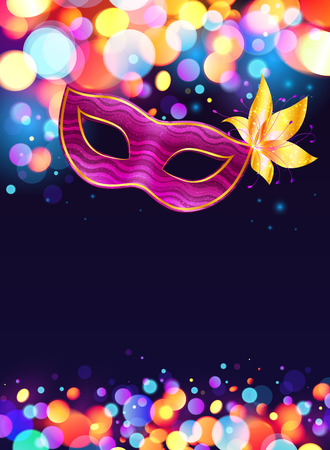 Illustration pour Pink carnival mask and bokeh lights dark blue poster background - image libre de droit