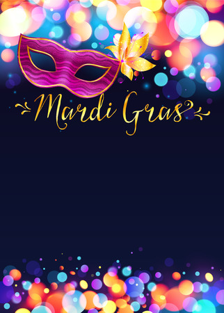 Illustration pour Bright Mardi Gras poster template with bokeh effect lights and pink carnival mask - image libre de droit