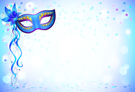 Illustration pour Blue carnival mask and confetti light background - image libre de droit