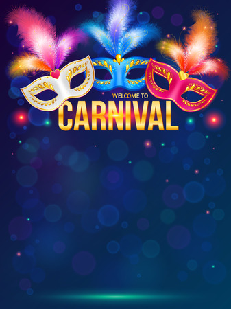 Illustration pour Bright carnival masks on dark blue background - image libre de droit